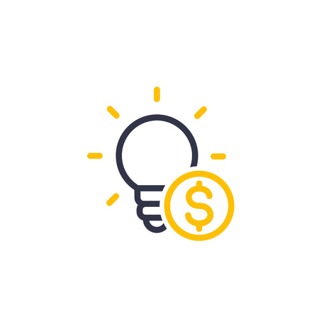funding of the new product, idea, seed capital linear icon Illustration
