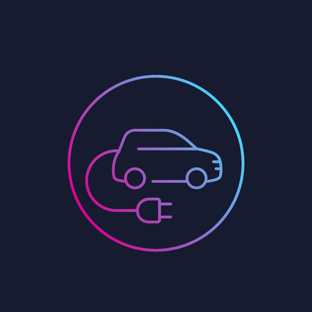 electric car with plug, EV, linear style icon Illustration