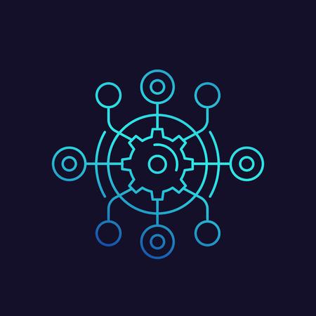 processus technologique, icône linéaire de vecteur de cycle de production