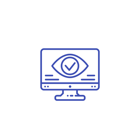 Monitoring, parental control vector line icon