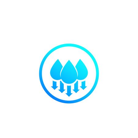 humidity, water level down, vector icon with gradient on white