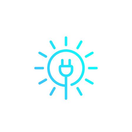 Solar energy, sun and electric plug, vector linear logo Иллюстрация