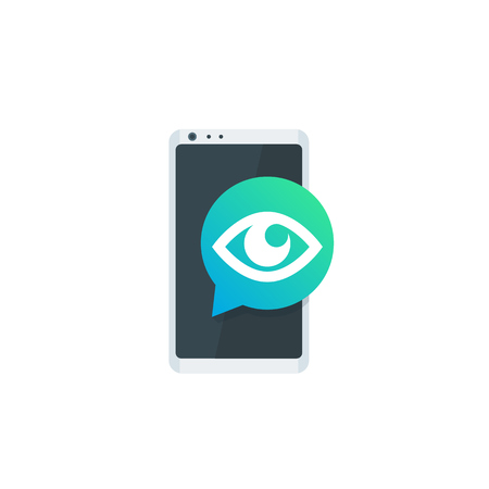 Monitoring icon, eye on smartphone screen 일러스트