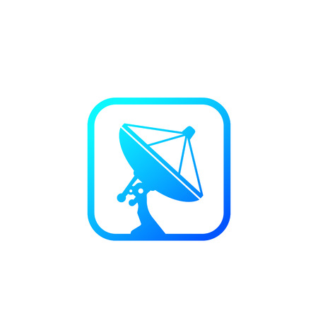 satellite dish, antenna icon Vettoriali
