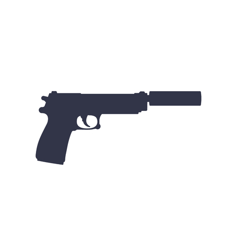 pistol with silencer, vector silhouette isolated on white