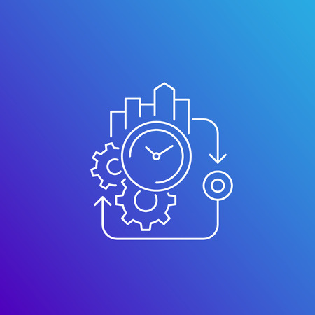 production cycle, efficiency vector line icon Illustration