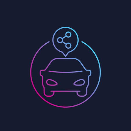 service d'autopartage, icône vecteur linéaire Vecteurs