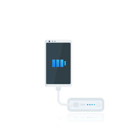 power bank and smartphone, portable phone charging device, vector Illustration