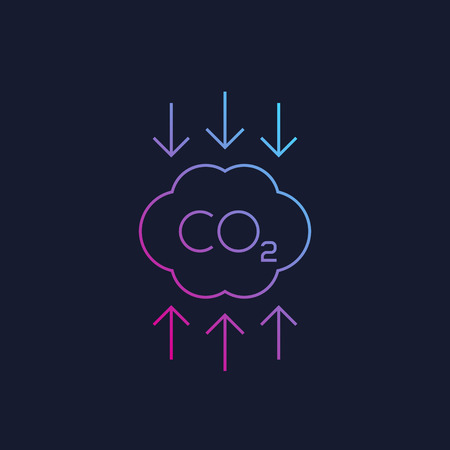 co2, carbon emissions reduction linear vector