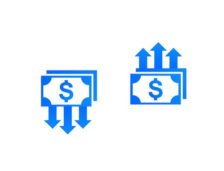 riduzione e crescita dei costi, denaro, icone vettoriali di finanza Vettoriali