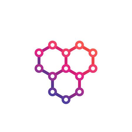 graphene, atomic carbon structure vector logo design