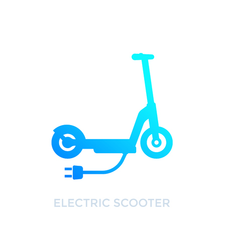 kick scooter, electric transport, vector icon