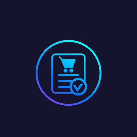 online order, purchase completed vector icon Illustration