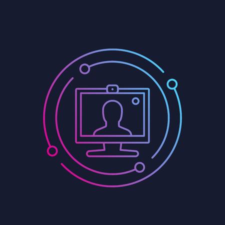 Videollamada, icono de conferencia, vector lineal Ilustración de vector