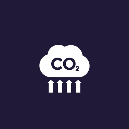 co2, carbon dioxide emissions and pollution, vector Illustration