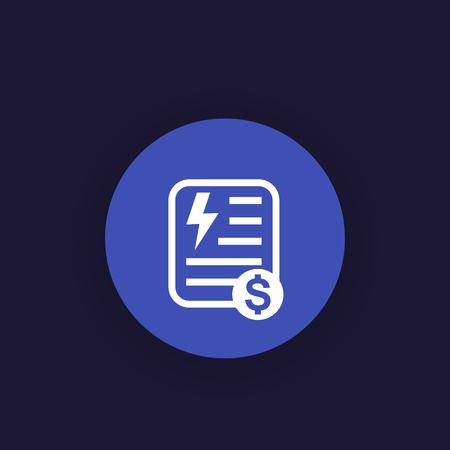electricity utility bill icon, vector