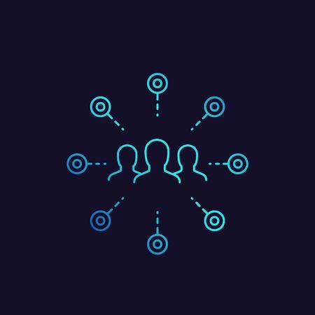 stockholders icon, linear vector Illustration