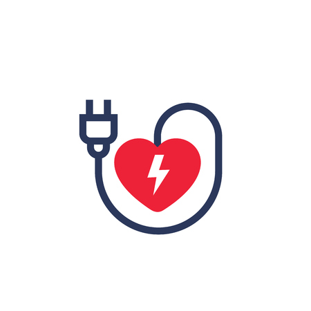 heart with electric plug icon on white