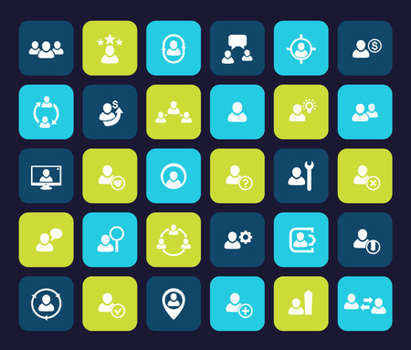 Human resources, HR, personnel, staff management, CRM, clients and customers icons set