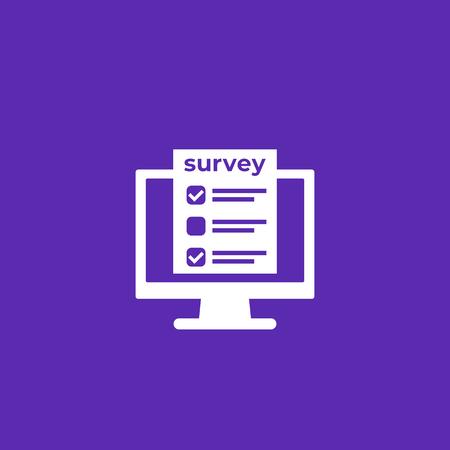 online survey, feedback form on screen icon