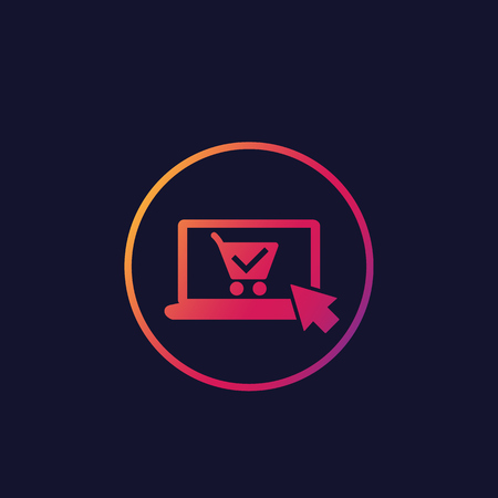 online order, purchase vector icon, laptop and shopping cart Çizim