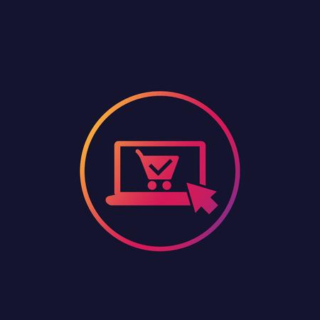 pedido en línea, icono de vector de compra, computadora portátil y carrito de compras Ilustración de vector