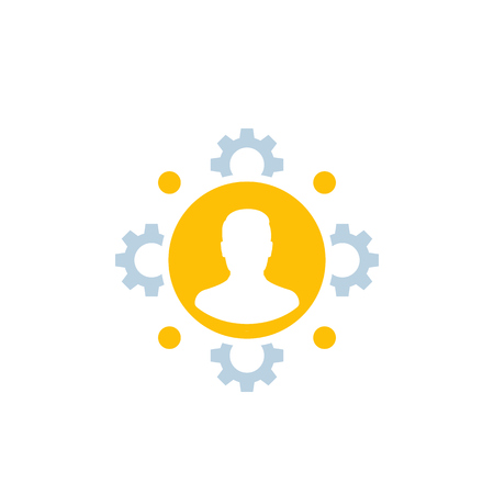 HR, human resources, staff management icon Vector Illustration