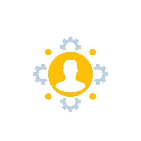 RRHH, recursos humanos, icono de gestión de personal Ilustración de vector