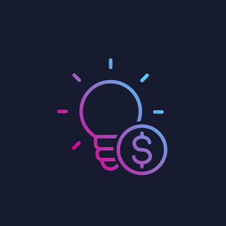 funding of the new product, idea line icon Illustration