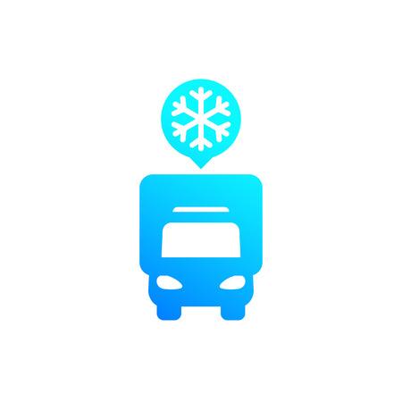 Fridge truck icon, van with refrigerator, front view