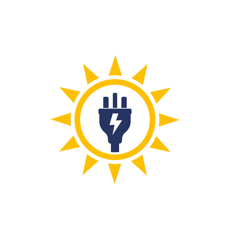Solar energy, sun and electric plug, vector logo icon