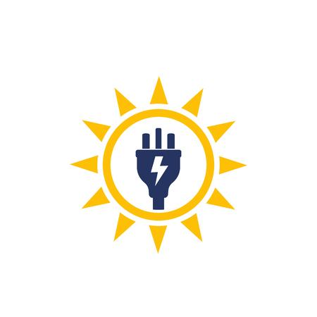 Solar energy, sun and electric plug, vector logo icon