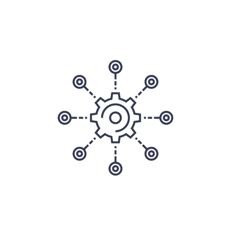 development, software integration, automation line vector icon Illusztráció