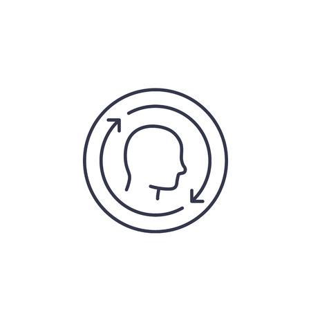 customer retention, returning client, management line icon Illustration