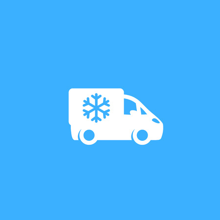 Fridge truck, van with refrigerator icon