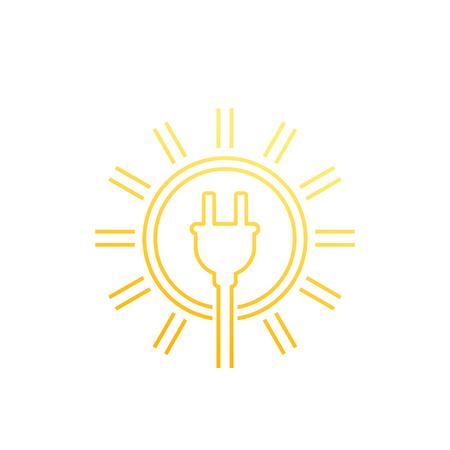 Solar energy, sun and electric plug, linear icon Иллюстрация