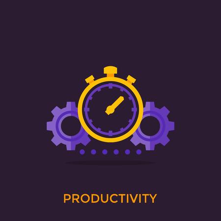 productivity icon, stopwatch and gears Vektoros illusztráció