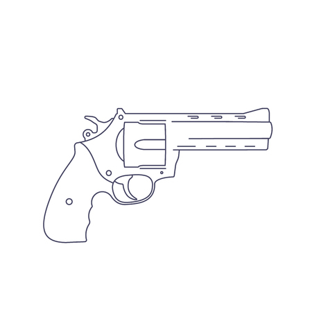 revolver gun isolated on white, line vector