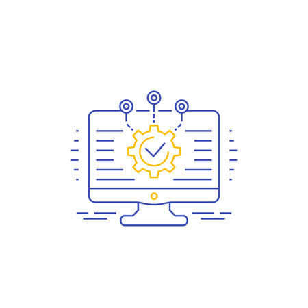 software development, integration and automation vector icon, linear