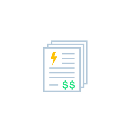 electricity utility bills, payments, vector icon
