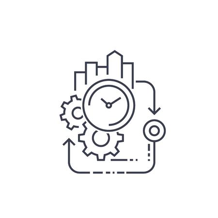 cycle de production, icône de la ligne d'efficacité Vecteurs