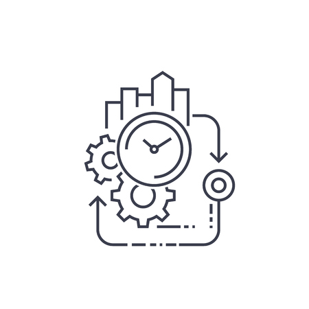 production cycle, efficiency line icon Illustration