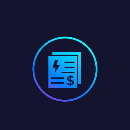 icono de vector de facturas de servicios públicos de electricidad