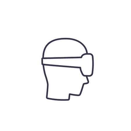VR helmet, man in virtual reality glasses vector line icon