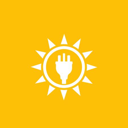 Solar energy, sun and electric plug, vector logo mark Logo