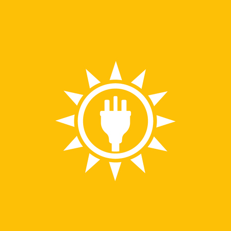 Solar energy, sun and electric plug, vector logo mark