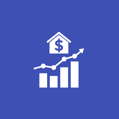 house prices growth icon with graph Illustration