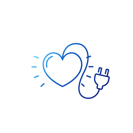 heart with electric plug line icon