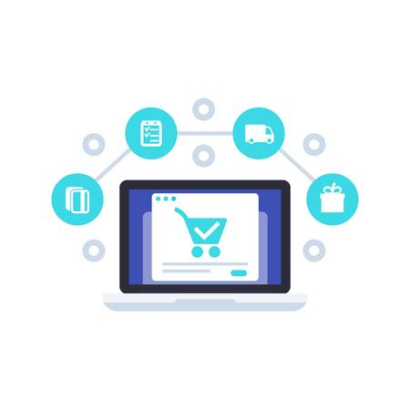 commerce électronique, achats, commande et achat en ligne, vecteur