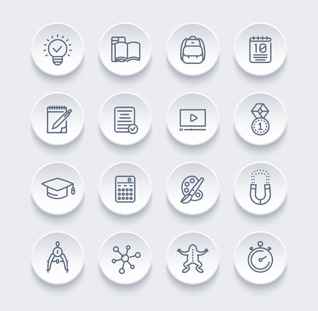 school, education, learning line icons set Vettoriali